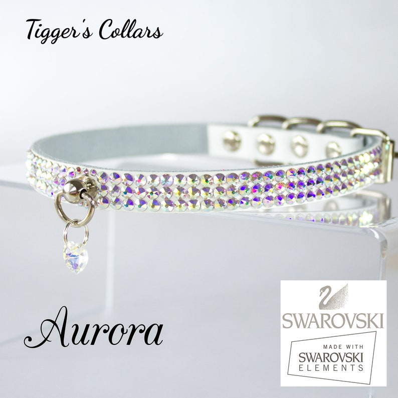 5ddaaec61bfd Aurora VEGAN Swarovski crystal collar choose base colour