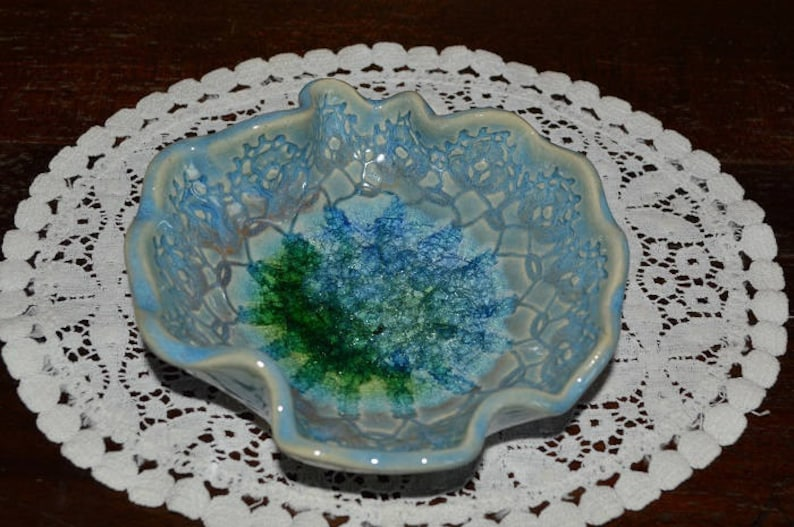 priority shipping home decor blue ring dish handmade candle holder teen gift pottery jewelry dish