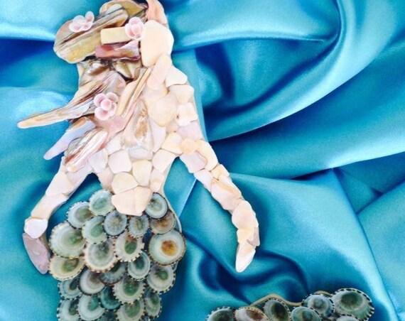 Mermaid, Seashell Mermaid, Mermaid Wall Hanging, Birthday Gift, Coastal Decor