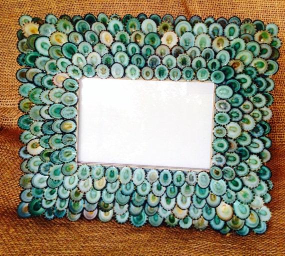 Turquoise Seashell Frame, Sea Shell Frame, Shell Frame, Coastal Decor