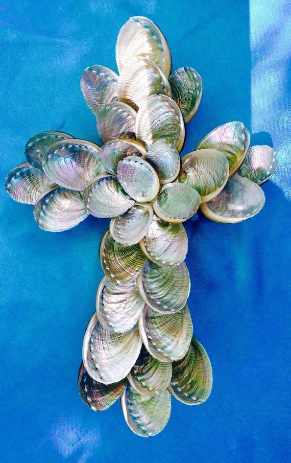 Silver Shell Cross, Abalone Cross, Seashell Cross, Silver Abalone Cross, Handmade Cross
