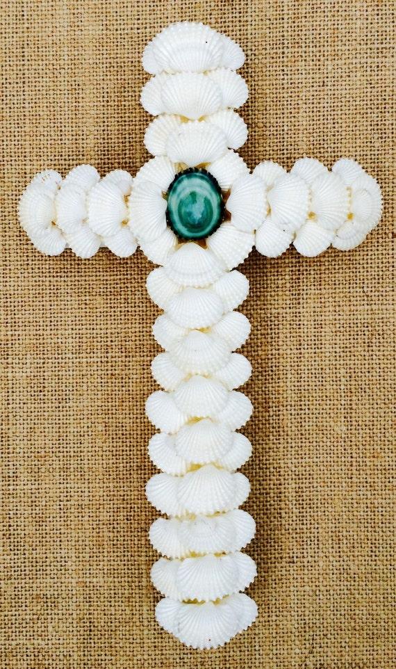 First Communion Seashell Cross, Handmade Cross, White and Turquoise Seashell Cross