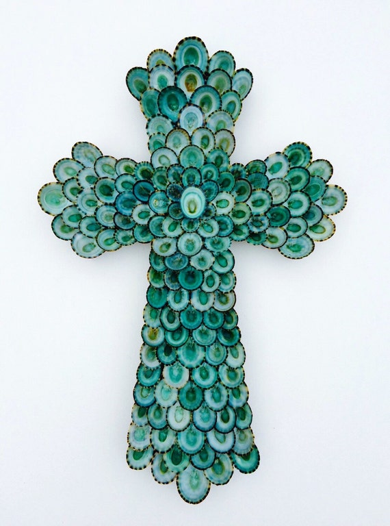 Seashell Cross, Wall Cross, Cross, Shell Cross, Limpet Cross, Coastal Cross