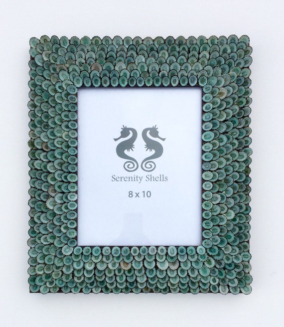 Turquoise Seashell Frame, Seashell Frame, Shell Frame, Coastal Frame, Sea Shell Frame