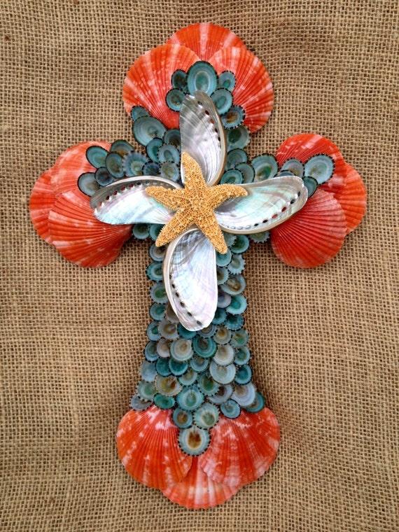 Seashell Cross, Handmade Seashell Cross, Red and Green Cross