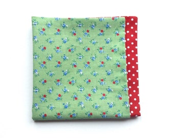 reversible cotton pocket square | green floral pocket square | red polka dot pocket square | handmade pocket handkerchief | mens gifts
