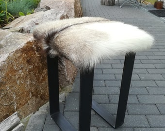 Padded stool with fur and steel frame