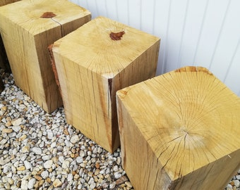 Oak block, bench wooden block, oak stool, oak stool