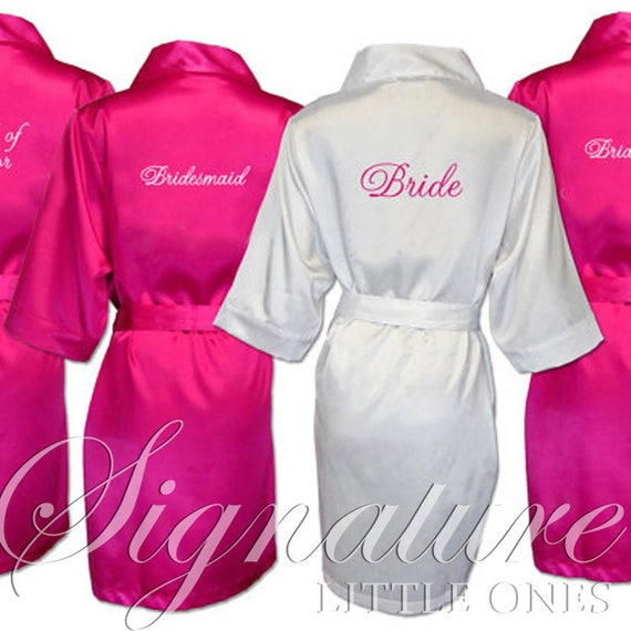 White 8 ~ Gift ~ SATIN Bridal ~ Black of Pink Shower Silk Set Party Robes Robe Pink ~ Hot Monogrammed Lavender Bridesmaid Personalized~ ~ qz6PwAxf5