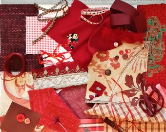 Red Slow Stitching Kit / Fabric Scraps / Haberdashery Bundle / Embellishments Kit / Junk Journal / Remnants