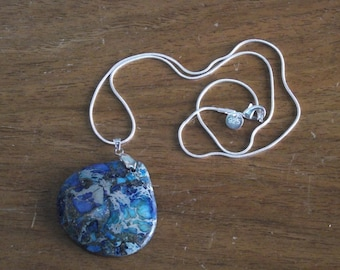 Pendant Series 013 - 41mm x 41mm Agate Round Pendant - Blues and Greens with Silver Bail and 20'' Silver Snake Chain with Lobster Clasp