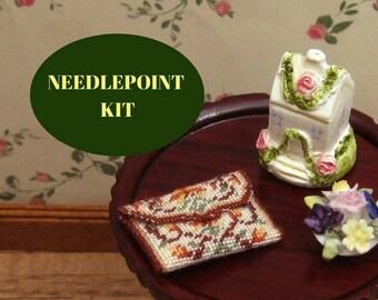 "Miniature purse kit, Dollhouse clutch bag, Petit point purse, Dollhouse handbag kit, 1:12 needlepoint purse kit, 40 ct purse kit, 1"" wide"