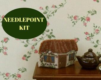 "Dollhouse teacosy kit, Cottage tea cosy kit, 1:12 miniature needlepoint teacozy,  Petit point doll's house teacosy 1/12 scale, 1.2""H, 32 ct"