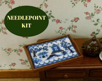 Doll's house tray cloth kit needlepoint, 1:12 Willow pattern traycloth pattern, Petitpoint traycloth, Dollhouse tray cloth, 32 silk gauze