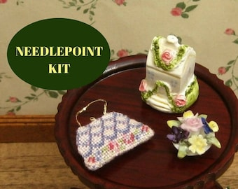 Petitpoint dollhouse purse kit, Dollhouse miniatures needlepoint handbag, Pink purse for dollhouse, 1:12 needlepoint purse kit, 32 gauze