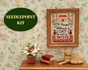 Cross stitch sampler, needlepoint kits, dollhouse miniature cats, miniature sampler kit, dolls house accessories, embroidery sampler pattern