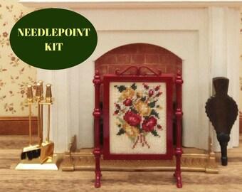 Dollhouse fireplace, Needlepoint kits, Dollhouse screen, Miniature fireplace, Dollhouse fireplace accessories, Dollhouse fire place, 32 ct