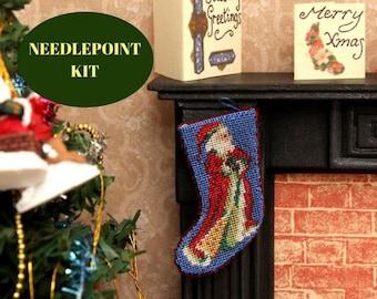 Dollhouse Christmas, Needlepoint kits, Miniature Christmas stocking, Christmas cross stitch pattern, Dollhouse embroidery, Dollhouse gift