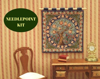 """Dollhouse wallhanging kit, 1:12 William Morris Orange Tree Arts and Crafts, Petitpoint tapestry one inch to one foot, 3.5 x 3.5"""", 22 count"""