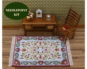 Miniature rug, Needlepoint kits, Dollhouse miniature sewing, Miniatures doll house, Miniature needlepoint, Rug kit, Dollhouse rug, 18 canvas