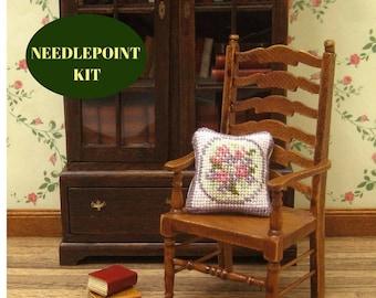 Dollhouse pillow, needlepoint kits, miniature pillow, petit point pillow, dollhouse miniature sewing, dollhouse miniature pillow, 1 12 scale