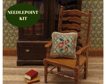 Miniature cushions, needlepoint kits, dolls house cushion, miniature accessories, miniature decoration, needlepoint cushion, petit point kit