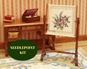 """1:12 needlepoint kit, Needlework stand, 1/12 tapestry frame embroidery, Roses embroidery stand, Miniature dollhouse frame, 3.5"""" high, 40 ct"""