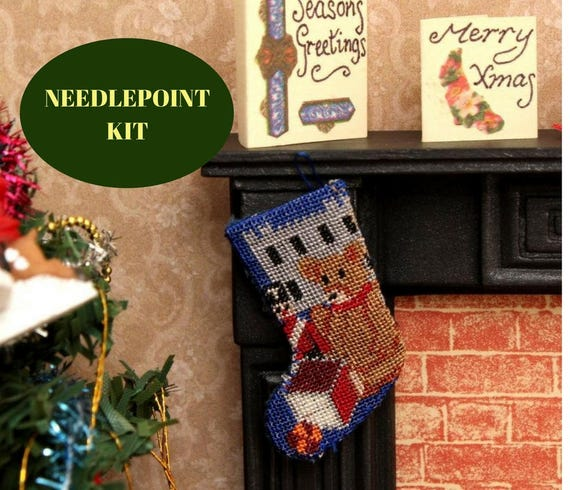 Needlepoint Teddy Blue Kit 1:12th Scale