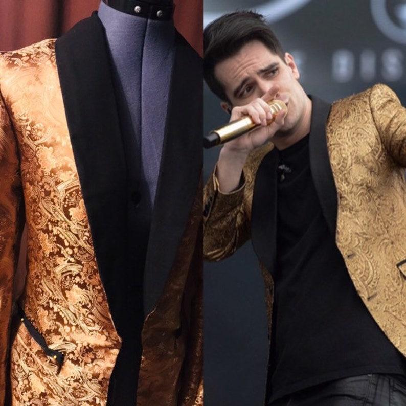 gold Jacket handmade tuxedo jacket Urie Jacket Urie Tux Brendon Urie Jacket,Panic at the Disco Jacket Gold Designer Jacket Gold Tuxedo