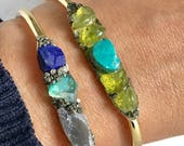 Anniversary Bracelet Gift for Wife, Raw Peridot Jewelry, August Birthday jewelry Gift, Raw Stone Boho Bracelet, Rough  Peridot, Turquoise