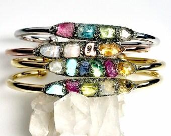 February Birthstone Bracelet Natural Rose Quartz Bracelet,Heart Chakra Bracelet,Raw Amethyst Bracelet,Healing Bracelet,Gift for her