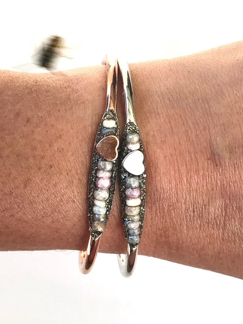 Sapphire Friendship Bracelet for Girlfriend Jewellery Dainty Love Jewelry in Silver Pink or Gold Rose Gold Heart Bracelet Gift for Wife