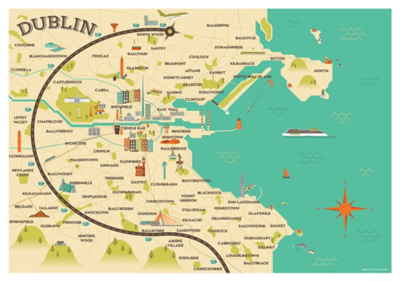 A1 size Dublin Map Illustration | Etsy Dublin Map on