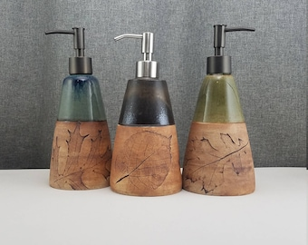 IN STOCK* Ceramic Soap Dispenser Handmade Pottery Lotion Dispenser Pottery for Kitchen and Bath - Leafs - Blue - Amber - Green