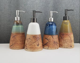 IN STOCK*Ceramic Soap Dispenser Handmade Pottery Lotion Dispenser Pottery- White, Yellow, Blue, Teal