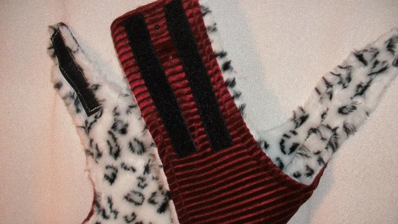 faux fur and red velvet soft halter