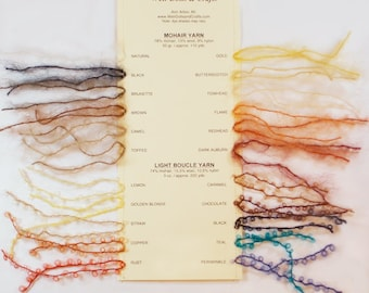 Swatch Card: Mohair and Boucle Mohair Yarns