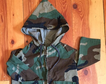 Vintage Baby Toddler Army Jacket Coat Pixie Hood Handmade 2T