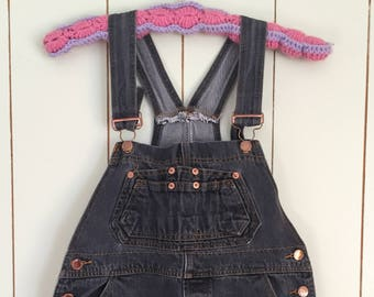 Vintage 90s London Blues Black Denim Jean Overalls Kids Size 14