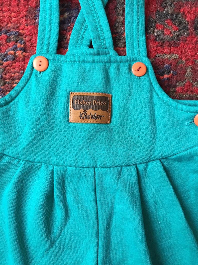 Vintage 1980s Teal Sweatsuit Romper Overalls 6-12 Months