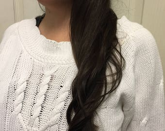 Vintage 1980s White Cropped Cotton Cable Knit Sweater Size Medium