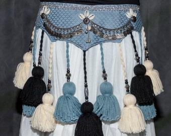 ATS Tribal Blue, Black, Cream YarnTassel Belt