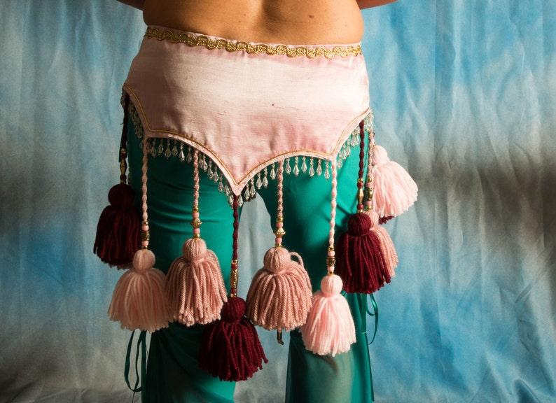 ATS Tribal tassel belt in pink tones for hips 34 thru 36 image 0