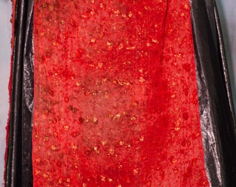 Ombre Red Panel Over Skirt