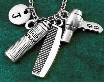 Hair Stylist Jewelry Gift Large Blow Dryer Pendant Necklace Hypoallergenic Stainless Steel Jewelry Stylist 24 Inches Necklace Gift