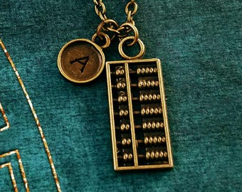 Abacus Necklace SMALL Abacus Charm Necklace Accountant Necklace Gift Math Jewelry Pendant Necklace Personalized Necklace Initial Necklace
