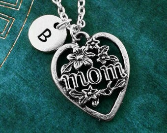 Mom Necklace SMALL Heart Charm Pendant Necklace Mother's Day Jewelry Gift for Mom Jewelry Mother's Day Gift Mother Necklace Mother Jewelry