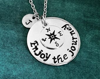 Enjoy the Journey Necklace SMALL Charm Necklace Compass Necklace Long Distance Graduation Gift College Jewelry Personalized Initial Necklace