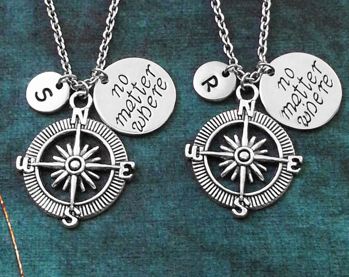 Compass Necklace Personalized Jewelry Friendship Gift Couples Necklace Long Distance Relationship Boyfriend Girlfriend No Matter Where Charm