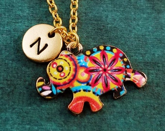 Elephant Necklace SMALL Psychedelic Elephant Charm Necklace Tie Dye Necklace Hippie Necklace Bridesmaid Necklace Personalized Initial Gift